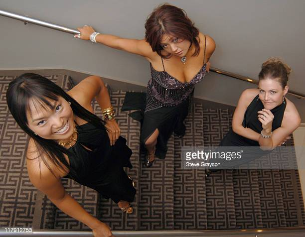 Jimin Kang Christina Kim and Stephanie Louden during LPGA Players Prepare For 2006 Oscar Parties at Luxe Hotel in Brentwood California United States