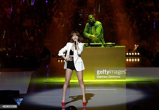 Jimin of AOA performs onstage at KCON 2015 at the Staples Center on August 2 2015 in Los Angeles California KCON is an annual KPop convention held in...