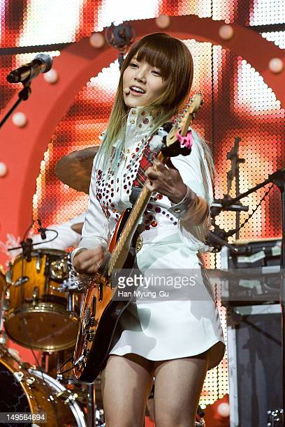Jimin of South Korean girl group AOA perform on stage during the opening of his 1st single album showcase named 'Angels' Story' on July 30 2012 in...