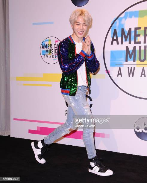 Jimin of the band BTS poses in the press room at the 2017 American Music Awards at Microsoft Theater on November 19 2017 in Los Angeles California