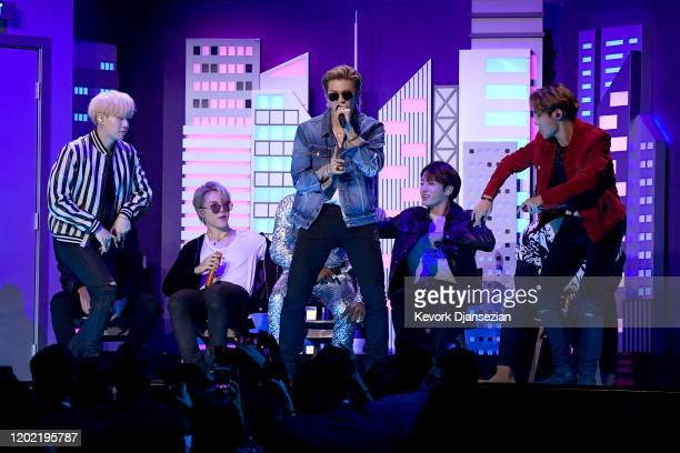 SUGA Jimin RM JHope and Jungkook of BTS perform onstage during the 62nd Annual GRAMMY Awards at Staples Center on January 26 2020 in Los Angeles...