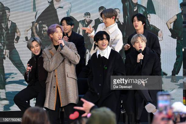 Jimin RM Jungkook V JHope Jin and SUGA of the Kpop boy band BTS visit the Today Show at Rockefeller Plaza on February 21 2020 in New York City