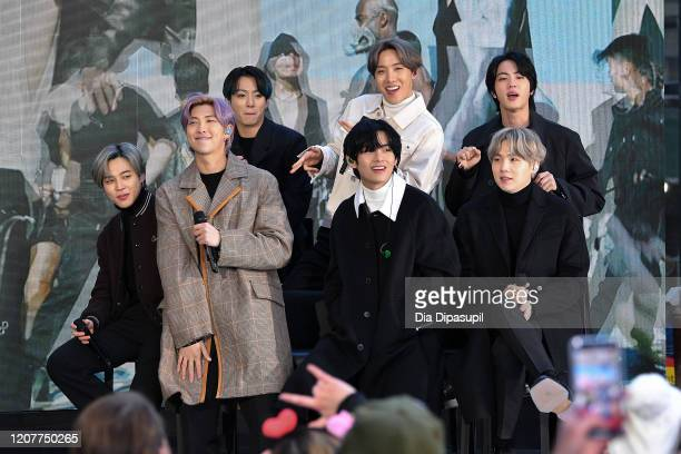 "Jimin, RM, Jungkook, V, J-Hope, Jin, and SUGA of the K-pop boy band BTS visit the ""Today"" Show at Rockefeller Plaza on February 21, 2020 in New York..."
