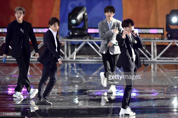 RM Jimin V and Jungkook of BTS perform on Good Morning America on May 15 2019 in New York City