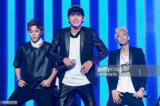 "Jimin, V and rap Monster of BTS attend the BTS 1st Album ""Dark And Wild"" Show Case"" at the Samsung Card Hall on August 19, 2014 in Seoul, South Korea."