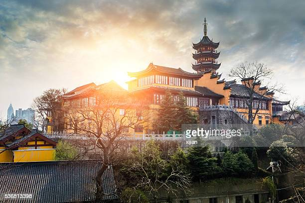 jiming temple sunset in nanjing,china - nanjing stock pictures, royalty-free photos & images