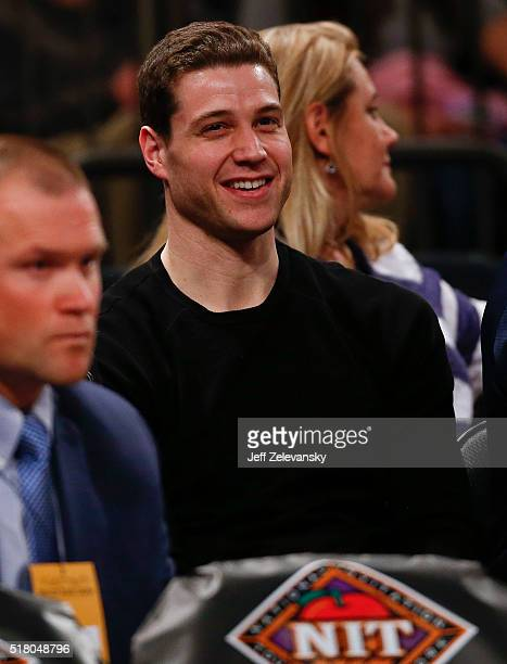 Jimmer Fredette looks on as the Brigham Young Cougars play the Valparaiso Crusaders during their NIT Championship Semifinal game at Madison Square...