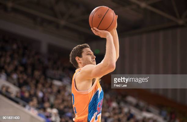 Jimmer Fredette of Shanghai Bilibili in action during the 2017/2018 CBA League match between Beijing Begcl and Shanghai Bilibili at Beijing Olympic...