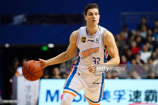 Jimmer Fredette of Shanghai Bilibili Sharks drives the ball during the 2018/2019 Chinese Basketball Association League eighth round match between...