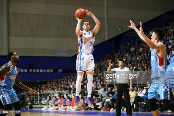 Jimmer Fredette of Shanghai Bilibili Sharks shoots the ball during the 2018/2019 Chinese Basketball Association League 13th round match between...