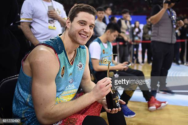 Jimmer Fredette of Shanghai Sharks celebrates after winning the final match of ThreePoint Shootout during 2017 CBA AllStar Weekend at LeSports Center...