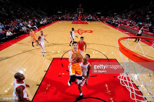 Jimmer Fredette of Shanghai Sharks shoots the ball against the Houston Rockets during a preseason game on October 9 2018 at Toyota Center in Houston...