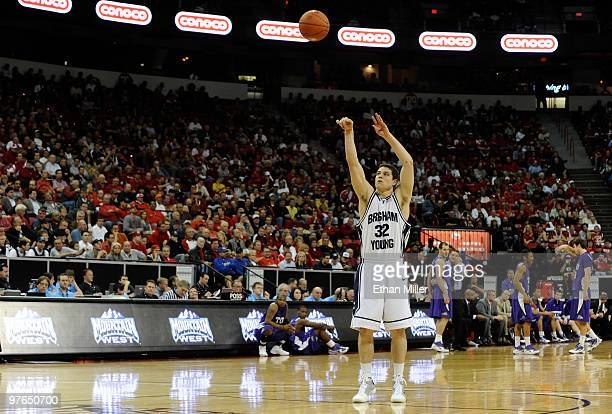 Jimmer Fredette of the Brigham Young University Cougars shoots a technical free throw during a quarterfinal game against the Texas Christian...