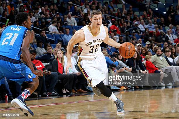 Jimmer Fredette of the New Orleans Pelicans during an NBA game against the Dallas Mavericks on November 10 2015 at the Smoothie King Center in New...