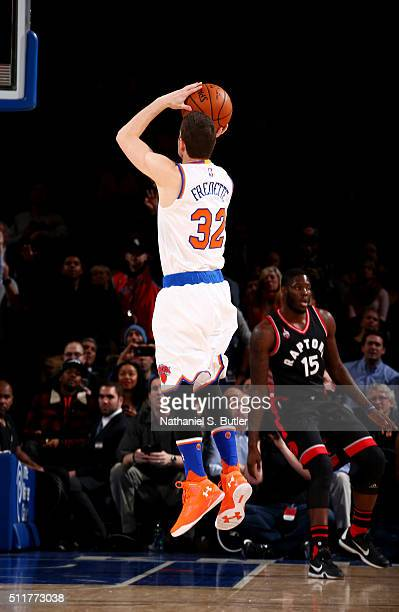 Jimmer Fredette of the New York Knicks shoots against the Toronto Raptors on February 22 2016 at Madison Square Garden in New York City NOTE TO USER...