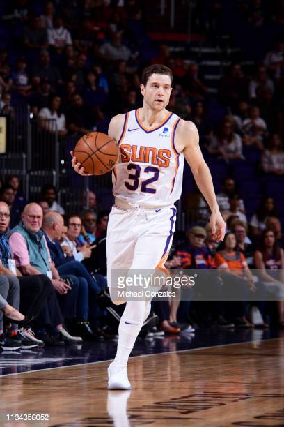 Jimmer Fredette of the Phoenix Suns handles the ball against the Cleveland Cavaliers on April 1 2019 at Talking Stick Resort Arena in Phoenix Arizona...