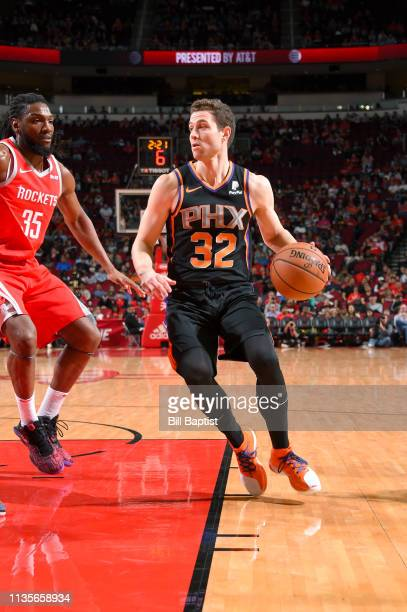 Jimmer Fredette of the Phoenix Suns handles the ball against the Houston Rockets on April 7 2019 at the Toyota Center in Houston Texas NOTE TO USER...