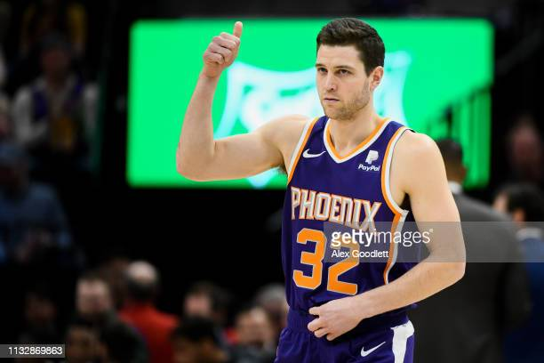 Jimmer Fredette of the Phoenix Suns looks on during a game against the Utah Jazz at Vivint Smart Home Arena on March 25 2019 in Salt Lake City Utah...