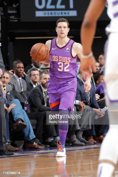 Jimmer Fredette of the Phoenix Suns moves the ball up court during the game against the Sacramento Kings on March 23 2019 at Golden 1 Center in...