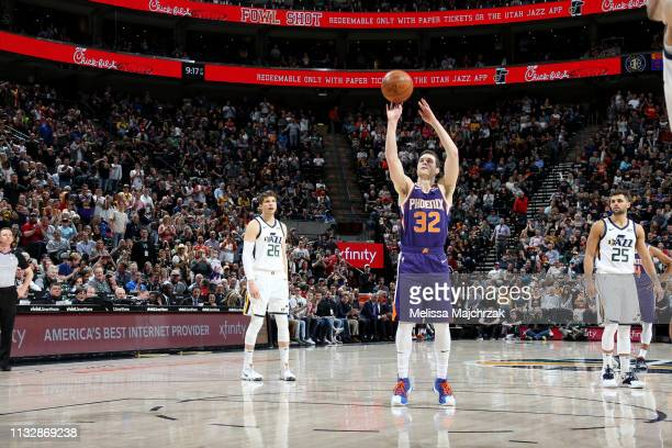 Jimmer Fredette of the Phoenix Suns shoots a free throw during a game against the Utah Jazz on March 25 2019 at vivintSmartHome Arena in Salt Lake...