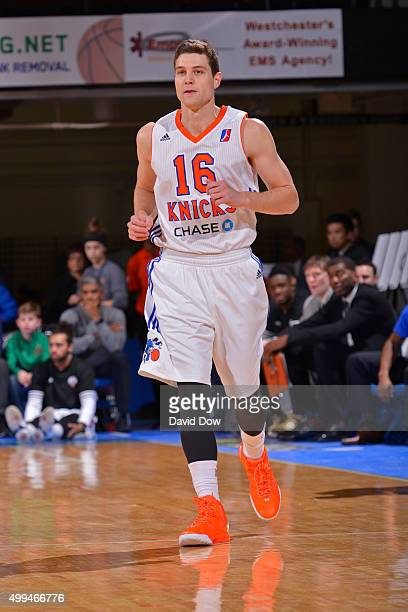 Jimmer Fredette of the Westchester Knicks runs up the court during the game against the Grand Rapids Drive at the Westchester County Center on...