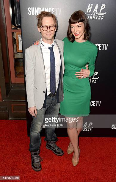 Jimmi Simpson and Pollyanna McIntosh attend Hap and Leonard private premiere party at Hill Country BBQ on February 25 2016 in New York City