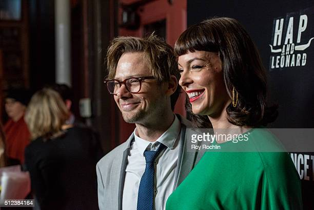 Jimmi Simpson and Pollyanna McIntosh attend 'Hap and Leonard' Private Premiere Party at Hill Country BBQ on February 25 2016 in New York City