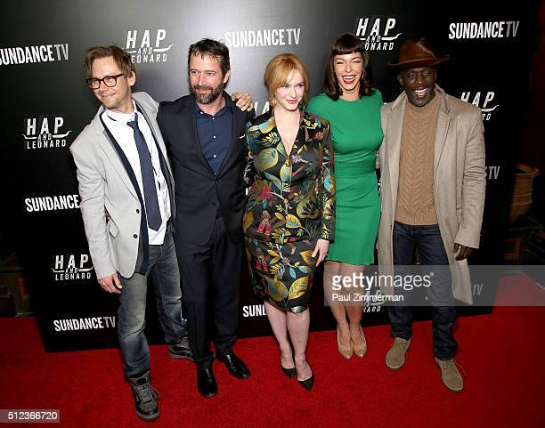 Jimmi Simpson James Purefoy Christina Hendricks Pollyanna McIntosh and Michael K Williams attend 'Hap and Leonard' Private Premiere Party at Hill...