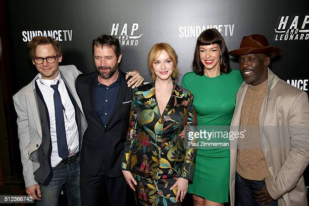Jimmi Simpson James Purefoy Christina Hendricks Pollyanna McIntosh and Michael K Williams attend 'Hap and Leonard' Private Premiere Party at Hill...
