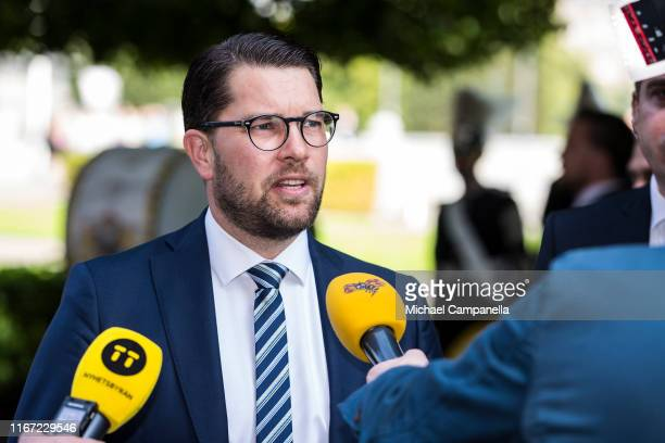Jimmie Akesson, leader of the Sweden Democrats party, arrives at the Swedish Parliament House for the opening of the new parliamentary session on...