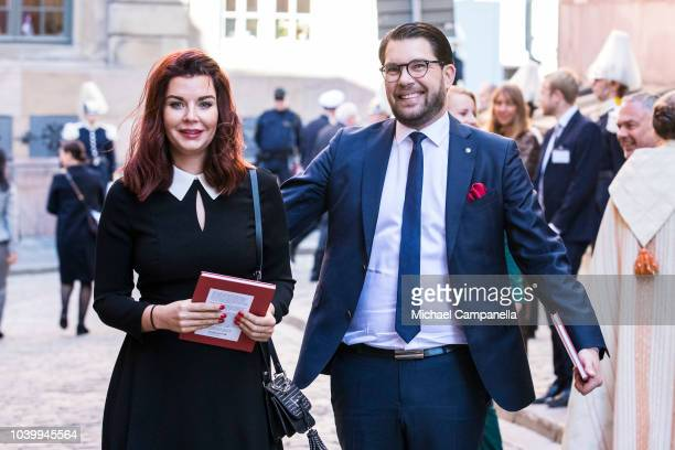 Jimmie Akesson, leader of the Sweden Democrats party, attends a church service at the Stockholm Cathedral in connection with the opening of the...