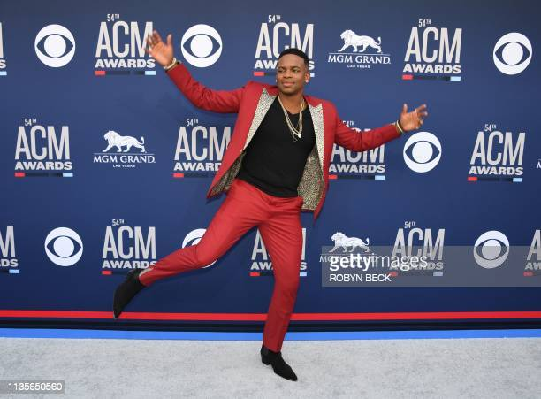 Jimmie Allen arrives for the 54th Academy of Country Music Awards on April 7 2019 in Las Vegas Nevada