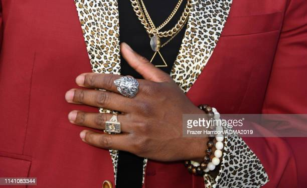 Jimmie Allen jewelry detail attends the 54th Academy Of Country Music Awards at MGM Grand Hotel Casino on April 07 2019 in Las Vegas Nevada