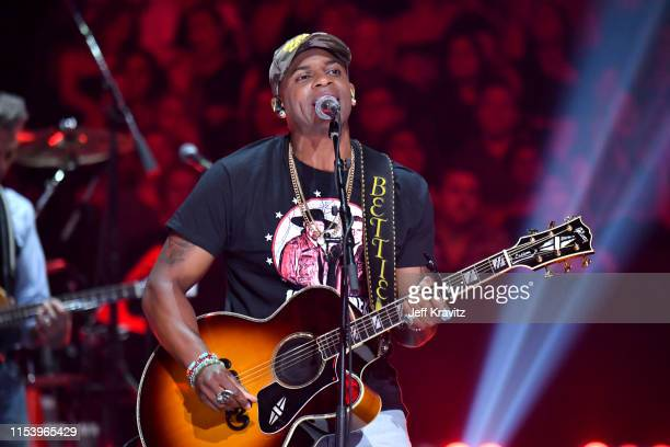 Jimmie Allen performs at the 2019 CMT Music Awards at Bridgestone Arena on June 05 2019 in Nashville Tennessee