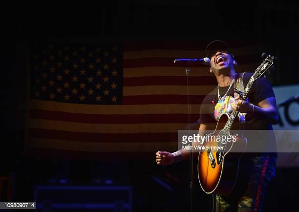Jimmie Allen performs during ACM Lifting Lives Presents Borderline Strong Concert at Thousand Oaks Civic Arts Plaza on February 11 2019 in Thousand...