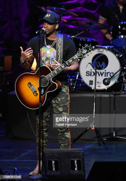 Jimmie Allen poses in the press room during ACM Lifting Lives Presents Borderline Strong Concert at Thousand Oaks Civic Arts Plaza on February 11...