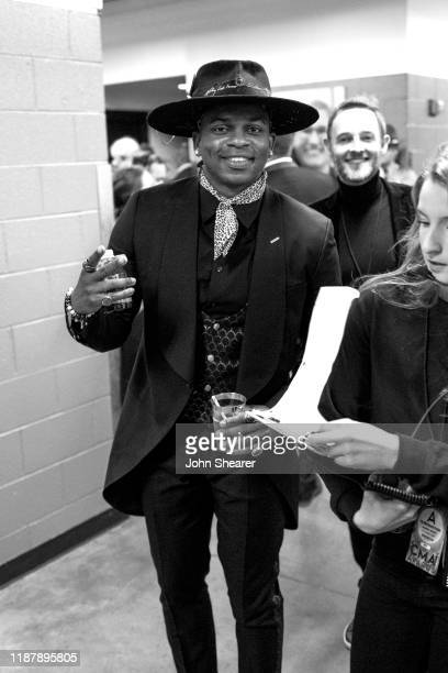 Jimmie Allen seen backstage during the 53rd Annual CMA Awards during the at Bridgestone Arena on November 13 2019 in Nashville Tennessee