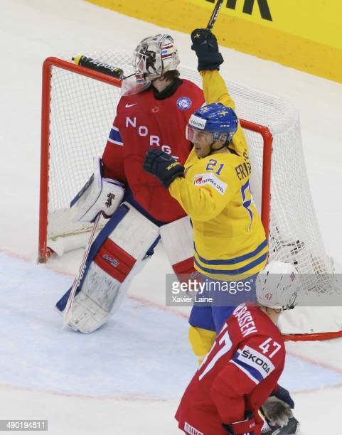 Jimmie Ericsson of Sweden celebrate a goal of Joakim Lindstrom during the 2014 IIHF World Championship between Sweden and Norway at Chizhovka arena...