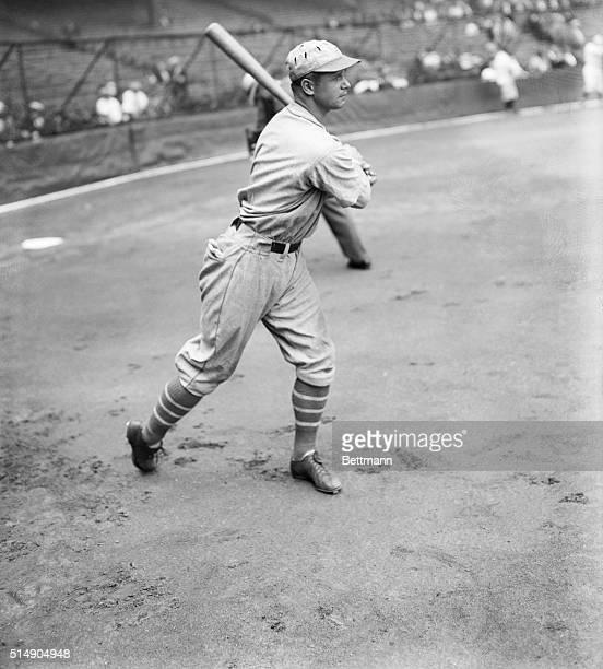 Jimmie Foxx of the Philadelphia Athletics swinging the bat.