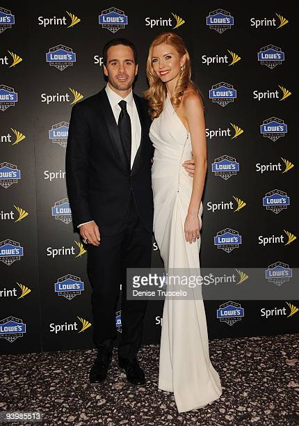 Jimmie Johnson and Chandra Johnson attends the NASCAR SPRINT Cup party at Lavo at the Palazzo on December 4 2009 in Las Vegas Nevada