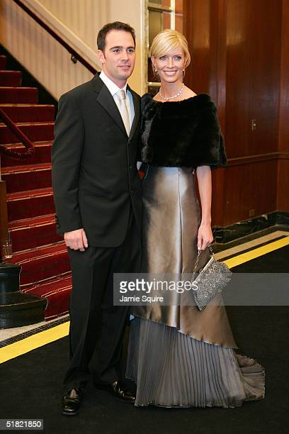 Jimmie Johnson and his wife arrive for the 2004 NASCAR Nextel Cup Awards at the Waldorf Astoria on December 3 2004 in New York City