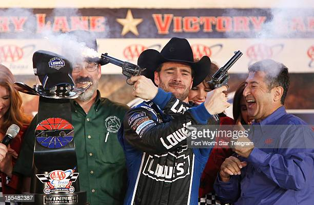 Jimmie Johnson celebrates winning the NASCAR Sprint Cup AAA Texas 500 at Texas Motor Speedway in Fort Worth Texas on Sunday November 4 2012