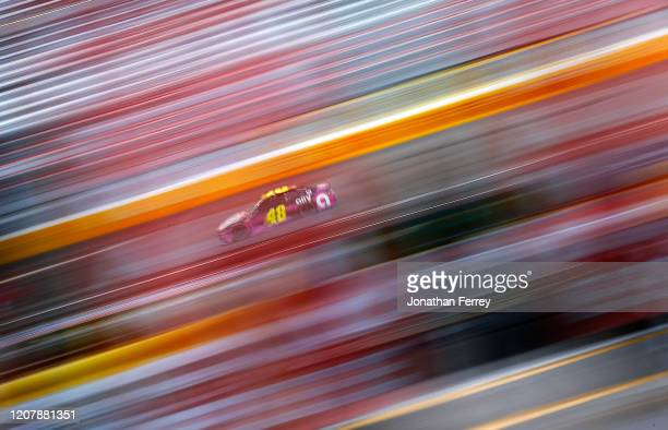 Jimmie Johnson driver of the Ally Chevrolet drives during practice for the NASCAR Cup Series at Las Vegas Motor Speedway on February 21 2020 in Las...