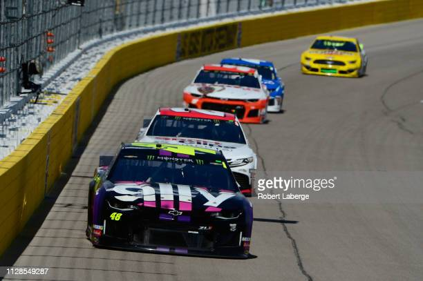 Jimmie Johnson driver of the Ally Chevrolet drivesduring the Monster Energy NASCAR Cup Series Pennzoil Oil 400 at Las Vegas Motor Speedway on March 3...
