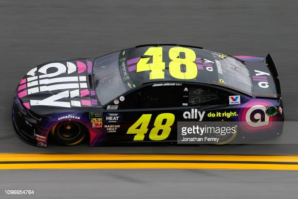 Jimmie Johnson driver of the Ally Chevrolet during practice for the Monster Energy NASCAR Cup Series 61st Annual Daytona 500 at Daytona International...