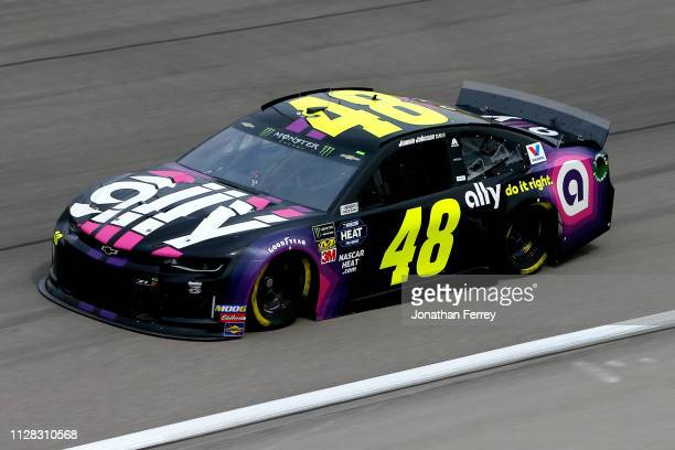 Jimmie Johnson driver of the Ally Chevrolet during practice for the Monster Energy NASCAR Cup Series Pennzoil 400 at Las Vegas Motor Speedway on...