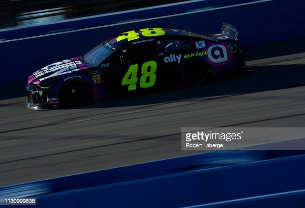 Jimmie Johnson driver of the Ally Chevrolet during practice for the Monster Energy NASCAR Cup Series Auto Club 400 at Auto Club Speedway on March 16...