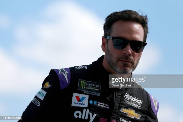 Jimmie Johnson driver of the Ally Chevrolet is introduced before the Monster Energy NASCAR Cup Series 61st Annual Daytona 500 at Daytona...
