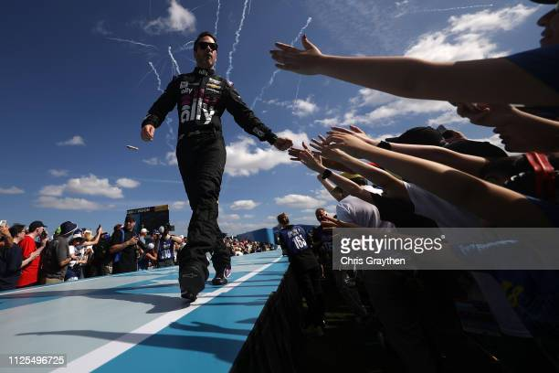 Jimmie Johnson driver of the Ally Chevrolet is introduced during the Monster Energy NASCAR Cup Series 61st Annual Daytona 500 at Daytona...