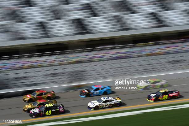 Jimmie Johnson driver of the Ally Chevrolet leads a pack of cars during practice for the Monster Energy NASCAR Cup Series 61st Annual Daytona 500 at...